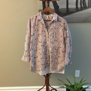 Oversized button down shirt with dogs